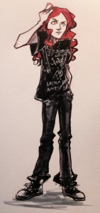 An awesome drawing of my main character from fellow mentee Terry Bell
